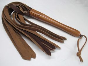 Optional Hard Wood Handled, 20mm wide Falls Saddle Leather Flogger